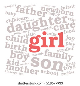 Girl. Word cloud, red font, white background. Family concept.