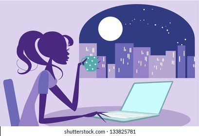 Girl working late on her laptop Pretty woman surfing the internet, or perhaps working late with a cup of coffee. Moonlit city scene can be seen in background through the window