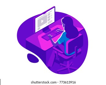 A girl working on the computer in the evening on the dark background. Isometric 3d vector illustration.