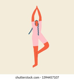 Girl is working out, doing yoga exercises in standing pose. Cartoon trendy character in vector.