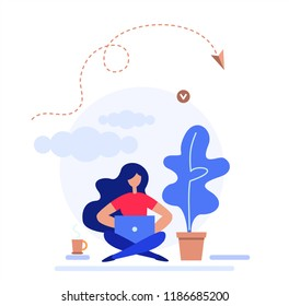 A girl works on the laptop. Vector flat illustration. Landing page template, cartoon style.