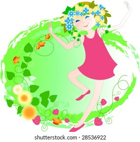 The girl in a wreath from dandelions dances on a blossoming meadow