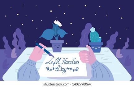 Girl writing - Happy Left Handers Day and giving the thumbs-up. Late night work.