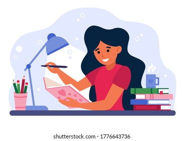 Girl writing in journal or diary isolated flat vector illustration. Cartoon female teenager drawing in cute paper notebook or book with pen. Lifestyle and youth concept