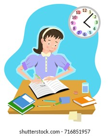 Girl writing in notebook; stationery and books on table, clock in background (flat color illustration)