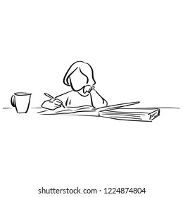 girl writing on big notebook with a cup of tea vector illustration sketch doodle hand drawn with black lines isolated on white background
