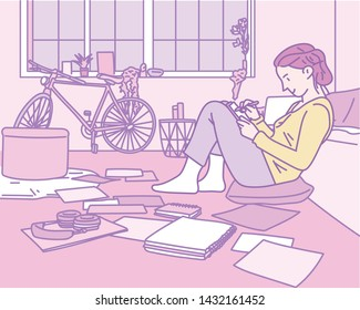 A girl is writing in a room cluttered with notes. hand drawn style vector design illustrations.
