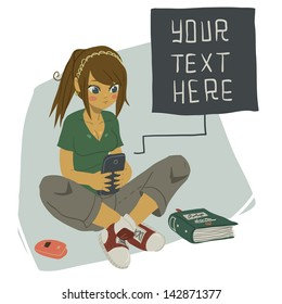 Girl Writing Text Message on Her Mobile Phone. The vector illustration of young girl writing message on her mobile phone.