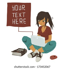 Girl Writing Text Message on notebook. The vector illustration of young girl writing message on her mobile phone.