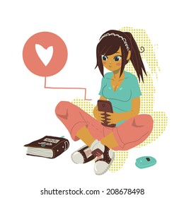 Girl Writing Text Message on notebook. The vector illustration of young cartoon girl writing message on her mobile phone for ui, web games, tablets, wallpapers, and patterns.