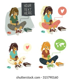 Girl Writing Text Message on phone set. The vector illustration of young cartoon girl writing message on her mobile phone for ui, web games, tablets, wallpapers, and patterns.