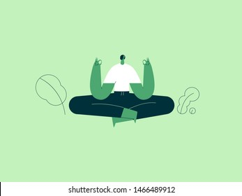 Girl in yoga lotus practices meditation. ector illustration flat design. Use in Web Project and Applications.