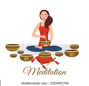 Girl yoga meditates with Tibetan singing bowls. Woman plays music. Relaxation after yoga. Enlightenment with deep music