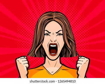 Girl or young woman screaming out loud. Pop art retro comic style. Cartoon vector illustration