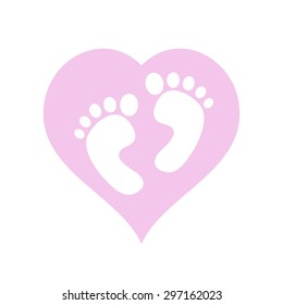 It's a girl,baby feet within pink heart, vector illustration