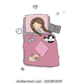 Girl,cats and dog sleep in bed. Good night. Sweet dreams. Vector illustration. bed time. Isolated objects on white background. Illustration for sleepwear.