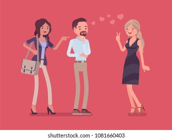 Girlfriend feeling jealous. Woman crazy about boyfriend talking to other girl, suffering from obsessive love, suspicious, mistrusting partner in relationship. Vector flat style cartoon illustration