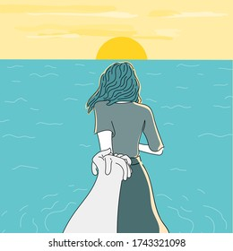 Girlfriend and young man run out to play in the sea happily.The painting depicting the setting sun in the sea by the beach.Doodle art concept,illustration painting