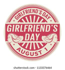 Girlfriends Day, August 1, rubber stamp, vector Illustration