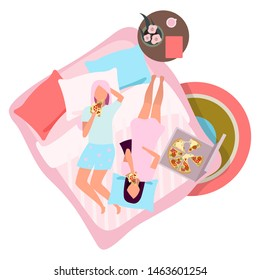 Girlfriends eating pizza flat vector illustration. Female best friends in pajamas on bed cartoon characters. Sleepover, slumber party concept. Young girls, women in sleepwear spending time together