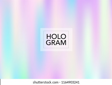 Girlie Hologram Gradient Vector Background. Luxury Trendy Tender Pearlescent Glam Overlay. Vibrant Holographic Princess, Fairytale, Cute Girlie Wallpaper. Unicorn Fairy Tale Neon Hologram Gradient