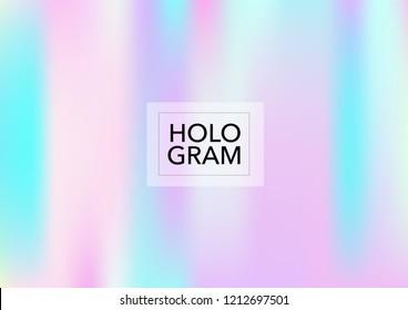 Girlie Hologram Gradient Vector Background. Soft Trendy Tender Pearlescent Rainbow Overlay. Rainbow Holographic Princess, Fairytale, Cute Girlie Texture. Unicorn Fairy Tale Tech Hologram Gradient