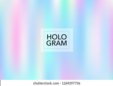 Girlie Hologram Gradient Vector Background. Luxury Trendy Tender Pearlescent Glam Overlay. Cool Color Holographic Princess, Fairytale, Cute Girlie Texture. Unicorn Magic Funky Teal, Hologram Gradient