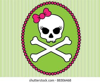 Girlie Skull and Crossbones Cameo