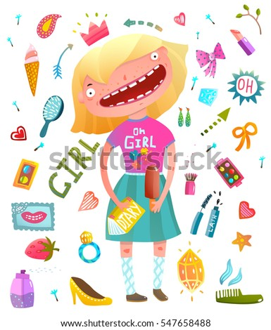 c96760c2a06b9 Girlish clip art collection with teenager girl and cosmetics. Young funny  girl fun colorful watercolor