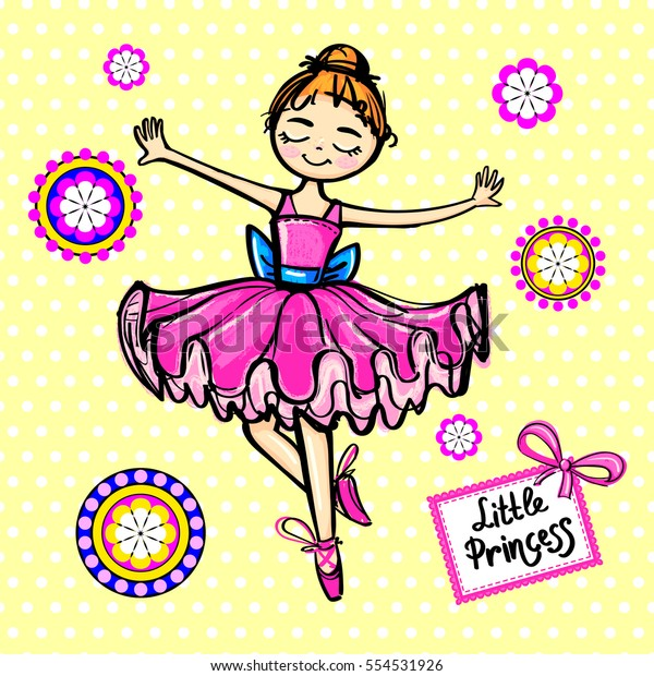Girlish Cute Wallpaper Dancing Girl Ballerina Stock Vector Royalty