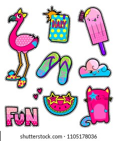 Girlish sewn patch badges. cartoon stickers pink smiling cat, flamingo in slippers and bow on had, flip flops, cloud, watermelon slice and stars sunglasses, diary with dots pattern, ice cream, hearts