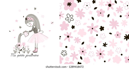 Girlish Spring garden themed graphic set with Little cute cartoon girl watering flowers illustration and seamless floral pattern. Doodle linear drawing. Pink colour. Perfect for baby girl fabric