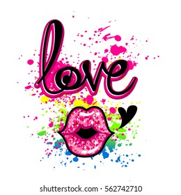 Girlish t shirt design. Creative wallpaper with original calligraphic text Love on white background with glitter kiss lips, heart, spray paint pink ink. Fashion teenagers cute style for fancy clothes