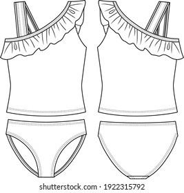 Girls 2 pieces Tankini fashion flat sketch template. Frill Detail. Swimwear Technical Fashion Illustration