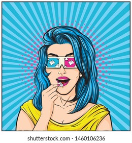 Girls with 3d glasses eats popcorn while watching a movie. Cute cartoon pop art comic style.