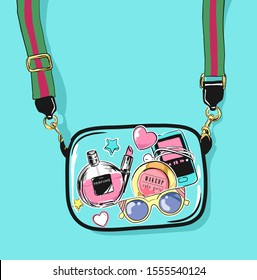 girl's accessories in see through bag illustration