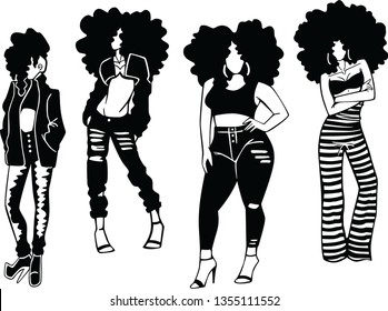 girls with afro vector black