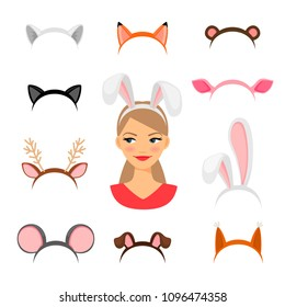 Girls animals ears costume. Cat and rabbit, deer and fox ears funny carnival headdress set vector illustration, girl head masquerade decor isolated on white