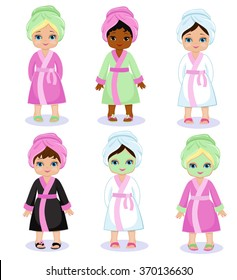 Girls in a bathrobe take spa treatments.Vector illustration isolated on white background.