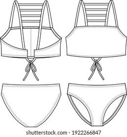 Girls Bikini fashion flat sketch template. Multiple Straps. Swimwear Technical Fashion Illustration