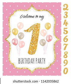 Girl's birthday invitation, birthday party with set of gold glitter numbers. Printable vector template with pink background with white polka dots and golden glitter elements.