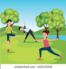 girls and boy training yoga healthy activity