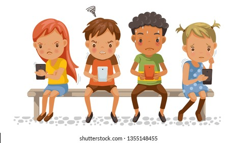 Girls and boys holding phone. Spend too much time with mobile phones. Stress, depressed, aggressive. Effects on concentration, emotions for children. Social Bully problems. Cartoon vector illustration