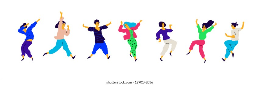 Girls and boys on the positive, a charge of energy. Vector. Illustrations of males and females. Flat style. A group of happy and joyful teenagers. Shapes are isolated on a white background.