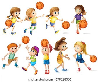 Girls and boys playing basketball illustration