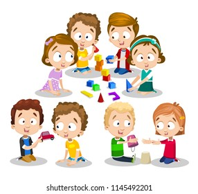 Girls and boys playing with cubes, toy car and sand. Happy children in kindergarten spend time friendly and develop with different toys. Multi-colored vector image of good kids on white background