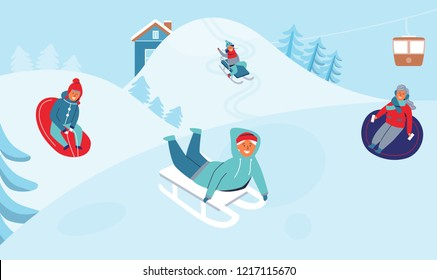 Girls and Boys Sledding on Ski Resort. Children Characters Having Fun on Winter Holidays. Happy People Playing Outdoors in the Snow. Vector illustration