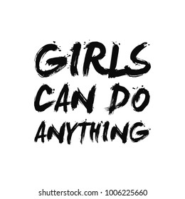 Girls Can Do Anything Brush Typography Fashion Slogan with pearl for T-shirt and apparels graphic vector Print. isolated in pink background
