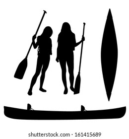 Girls and canoe silhouettes