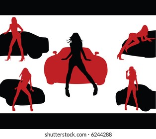 Girls and Cars. Vector illustration.